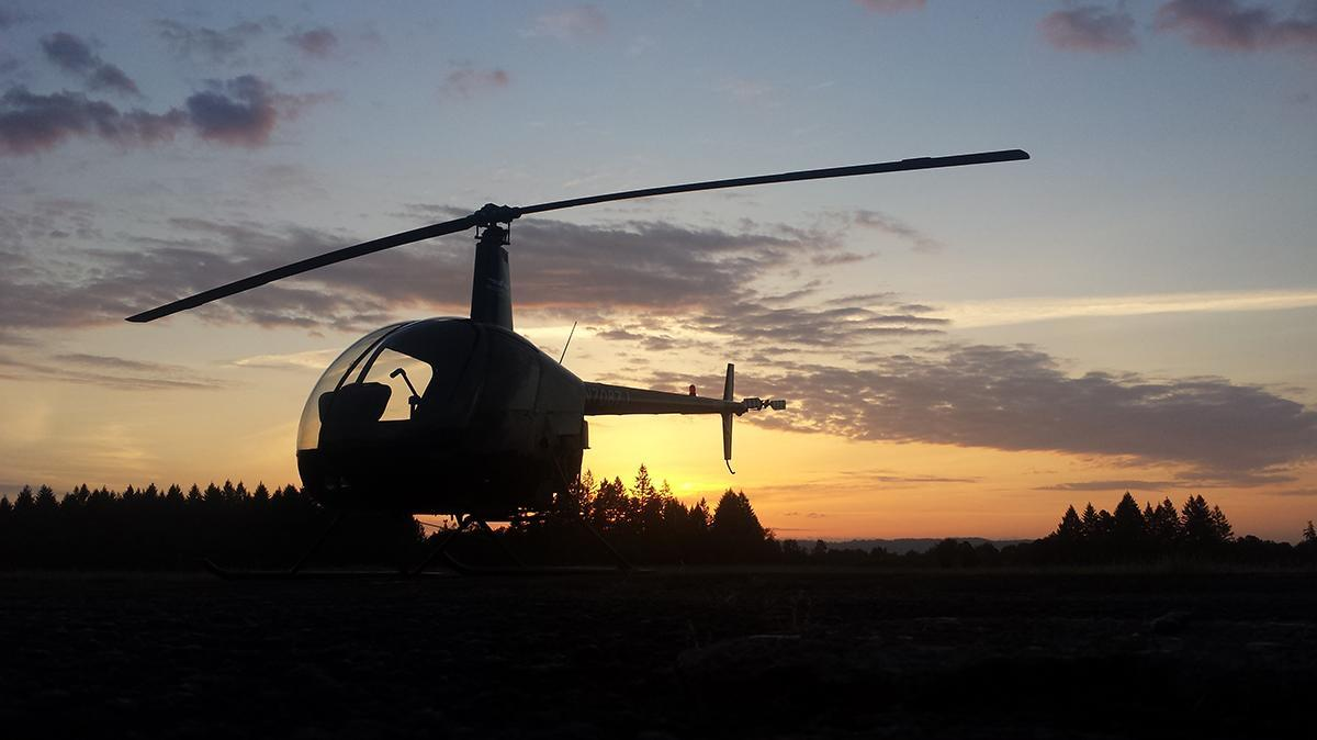 R22 helicopter on the ramp