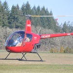 Robinson R22 flying in Oregon